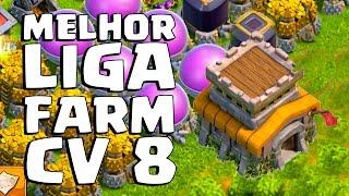 MELHOR LIGA PRA FARMAR NO CV 8 ! CLASH OF CLANS