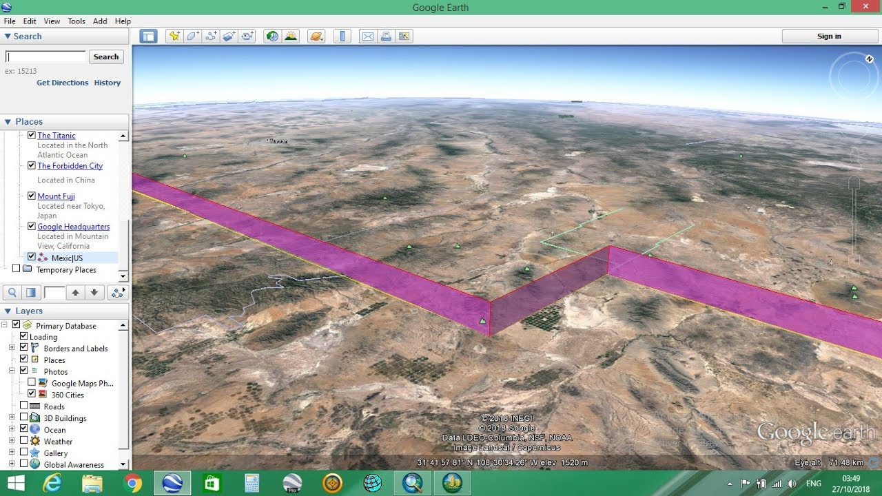 Extend line path in Google Earth 3d