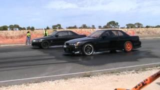 cd5a lancer gsr vs r33 skyline drag racing at tailem bend motorsport park 19 02 2012