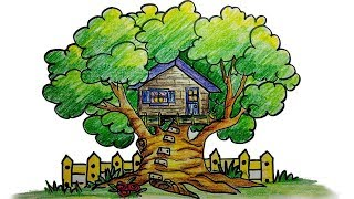How to draw a tree house step by step