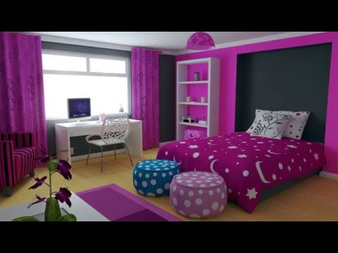 Girls Bedroom with Purple Decorating Ideas - YouTube