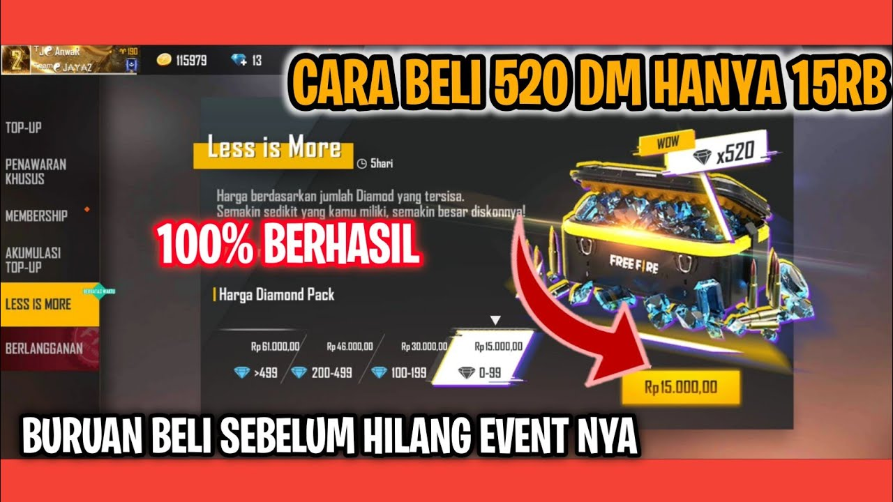 100% BERHASIL ! CARA BELI 520 Diamond Hanya 15 Ribu, Less Is More FF Kembali Hadir di Free Fire!