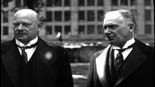 German Chancellor Gustav Stresemann and US Ambassador Jacob Schurman, receive hon...HD Stock Footage