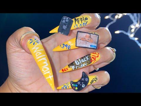 Black Friday Nails | Acrylic Nails Tutorials | Walmart Nails | 3D Nails thumbnail