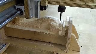 Изготовление ножки дивана на 3х осевом станке. Production of a leg of a sofa on 3-axis machine.