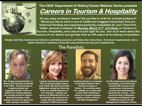 CSUF Careers in History Webinar - Tourism, Hospitality, and Leisure