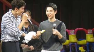 160611 song joong ki fm in hk eating durian feeding kwang soo