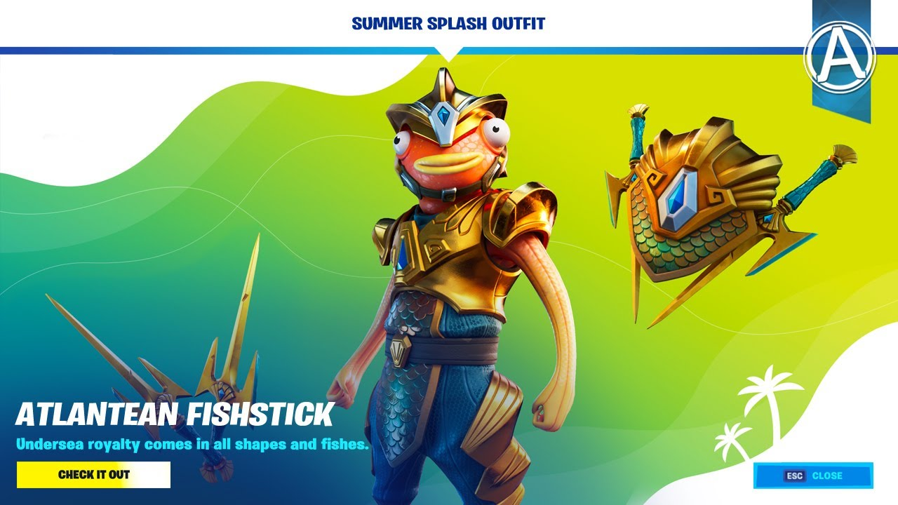 Fortnite Item Shop *NEW* ATLANTEAN FISHSTICK SKIN (July 22nd, 2020)