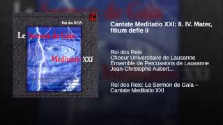 Cantate Meditatio XXI: II. IV. Mater, filium defle II