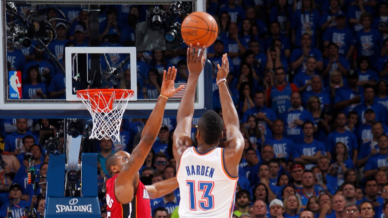 Harden`s early buzzer beater in OKC! - YouTube