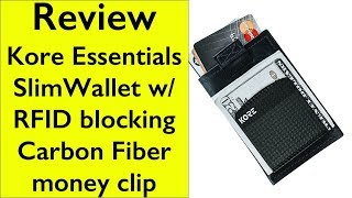 Review Kore essentials Slim Leather RFID Wallet + Carbon Fiber Money Clip