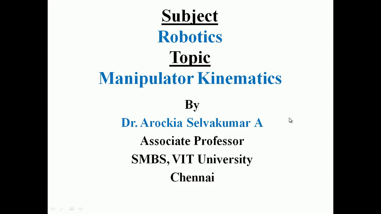 Prof. ASK\'s PPT on Forward Kinematics of Robot arm - YouTube