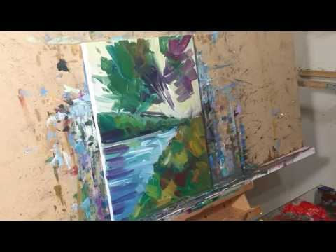 Artist JOSE TRUJILLO Oil Painting Demo – Impressionist Landscape River Trees Tutorial