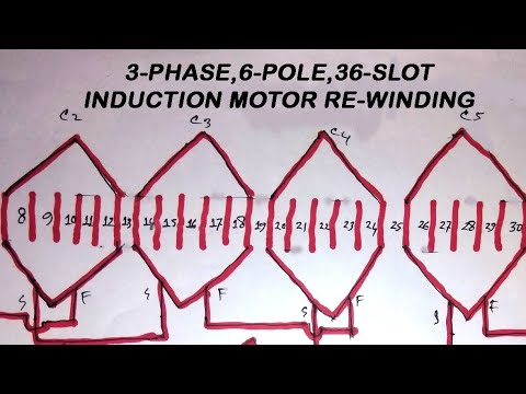Induction Motor Rewinding 36 Slots 3 Phase 6 Pole With