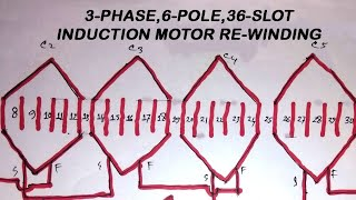 Induction Motor Rewinding 36 Slots 3 Phase 6 Pole With Diagram_FULL_HD