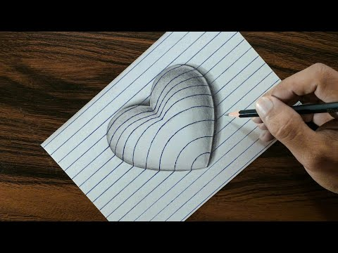 3D Heart on Line Paper - Trick Art Drawing