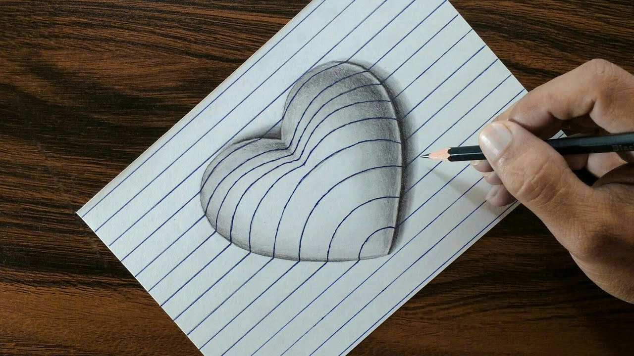 3d Heart On Line Paper Trick Art Drawing Youtube
