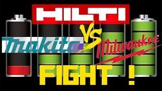 HILTI vs MAKITA vs MILWUAKEE Extreme Battery FIGHT! PART2