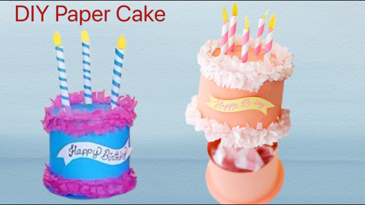 Paper Cake Box Easy Cake Gift Box Ideas Paper Cake Tutorial How To Make Paper Cake Paper Craft Youtube