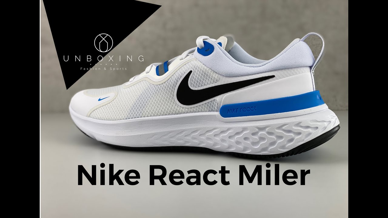 prometedor Arenoso Semicírculo  Nike React Miler 'white/ photo blue' | UNBOXING & ON FEET | running shoes |  2020 - YouTube
