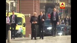 PM Modi and Swedish PM walk from Sager House to Rosenbad in Stockholm