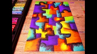 Puzzles Abstract Painting In Soft Pastel | Contemporary Cubism Art