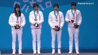 JO 2018 : Biathlon - Relais Femmes. Les Bleues reçoivent leurs médailles de bronze !