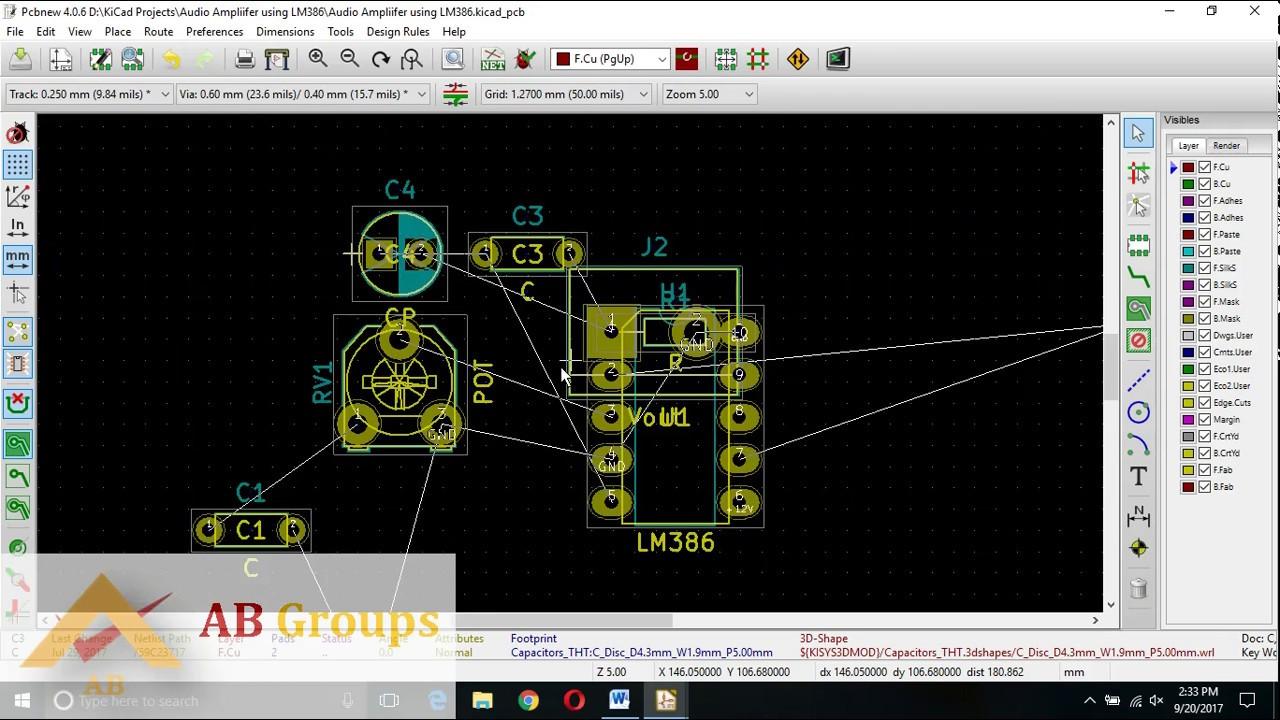 Audio Ampliifer Using Lm386 Kicad Design For Simple Amplifier Circuits Circuit