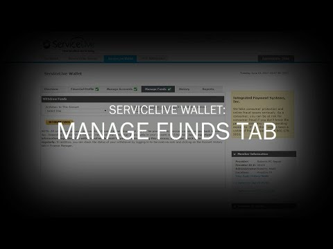 ServiceLive Wallet: Manage Funds Tab