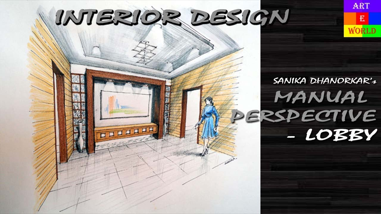 4 Manual Rendering 2 Point Interior Perspective Drawing