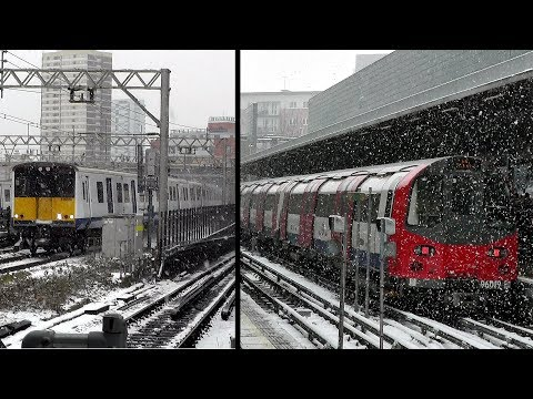Trains At London Stratford Station In Snowy Weather