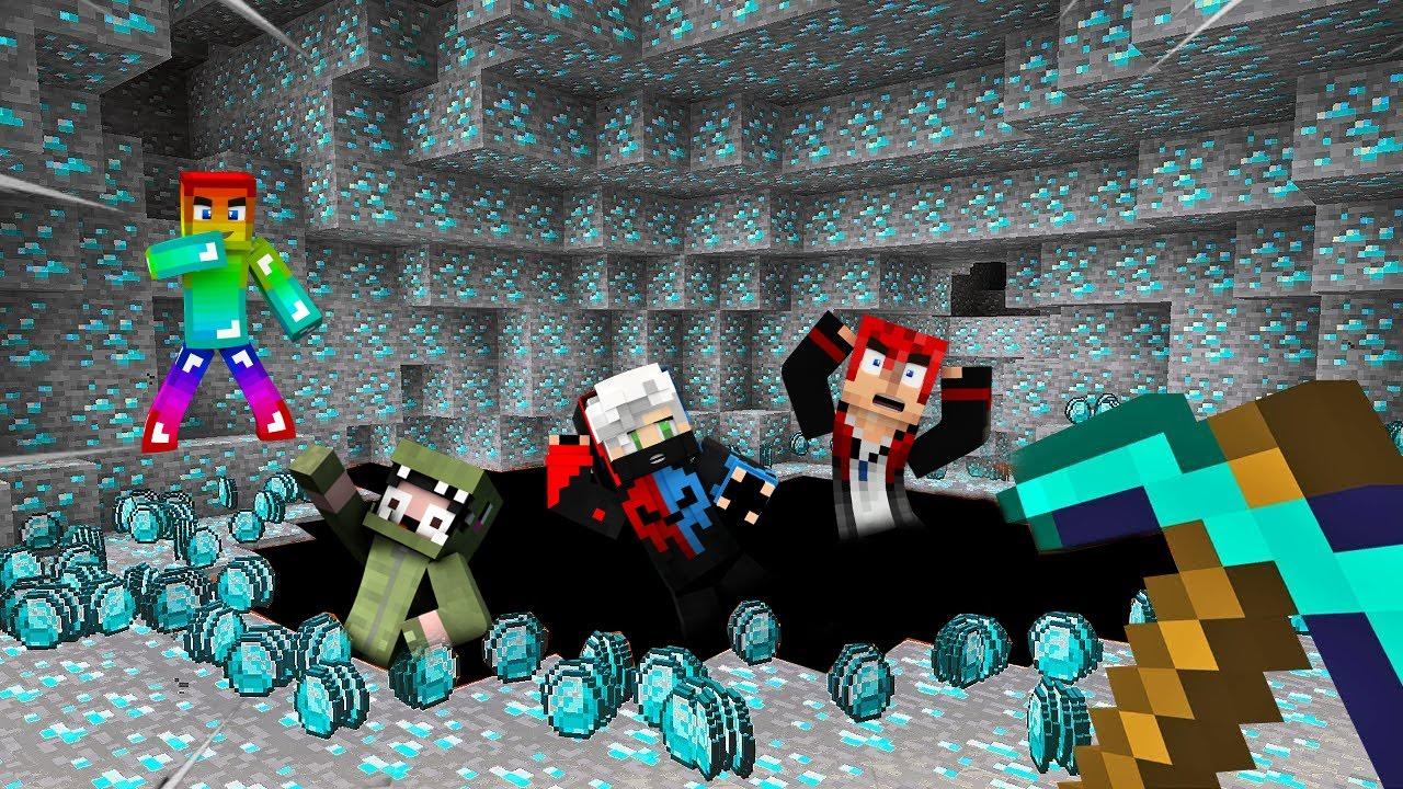 Minecraft Đấu Trường Khoáng Sản, Nhưng T Gaming Troll Noob Team Bằng Gậy Rồng Nhân Bản Kim Cương ??