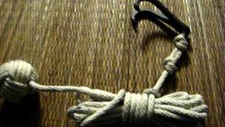 Small double hook kaginawa with rope and monkey fist knot on the end