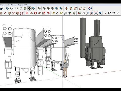 2013 Google SketchUp tutorials : How to  create a robot in S