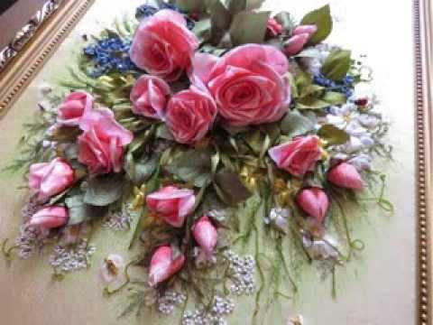 Вышивка лентами шикарные розы 505
