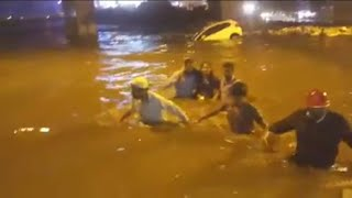 Woman got rescued in Bangalore flood
