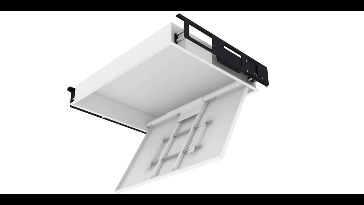 Tv Moving Chr Staffe Tv Motorizzate Da Soffitto Motorized Tv Ceiling Bracket Youtube