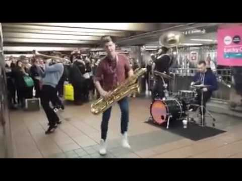 Lucky Chops Brass Band Live NYC Subway