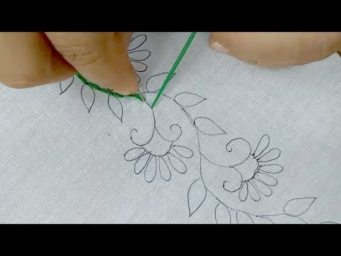 Latest border design for Saree || hand embroidery border line design tutorial thumbnail