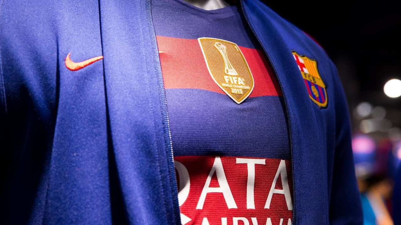 03d7c4c512e The world champions logo is in place on the FC Barcelona shirt - YouTube