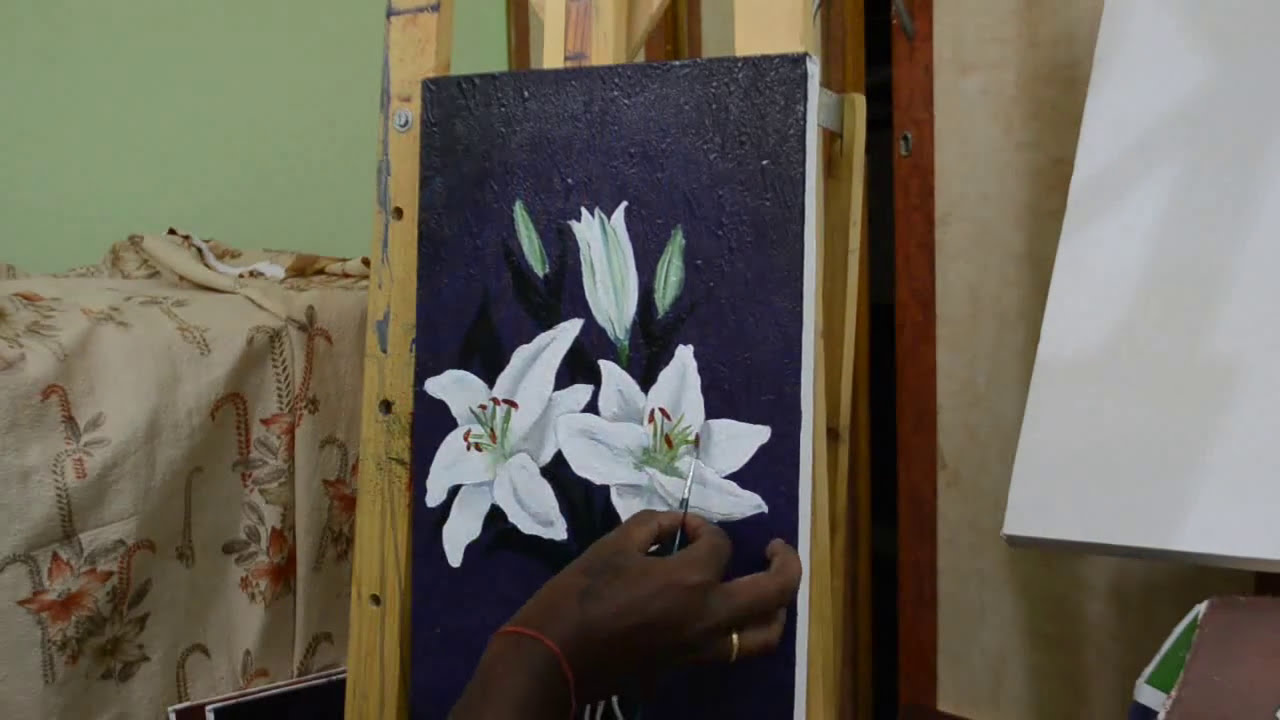 How to paint lily flower in acrylic youtube how to paint lily flower in acrylic izmirmasajfo