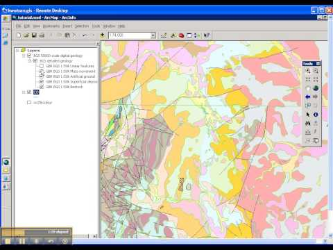 ArcGIS connecting to BGS Web Map Service for onshore geology maps 1:50 000 scale tutorial