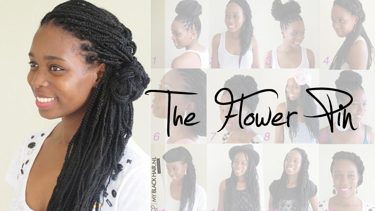 box braids wedding hairstyle   the flower pin
