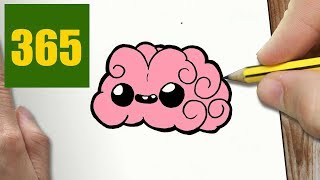 HOW TO DRAW A BRAIN CUTE, Easy step by step drawing lessons for kids