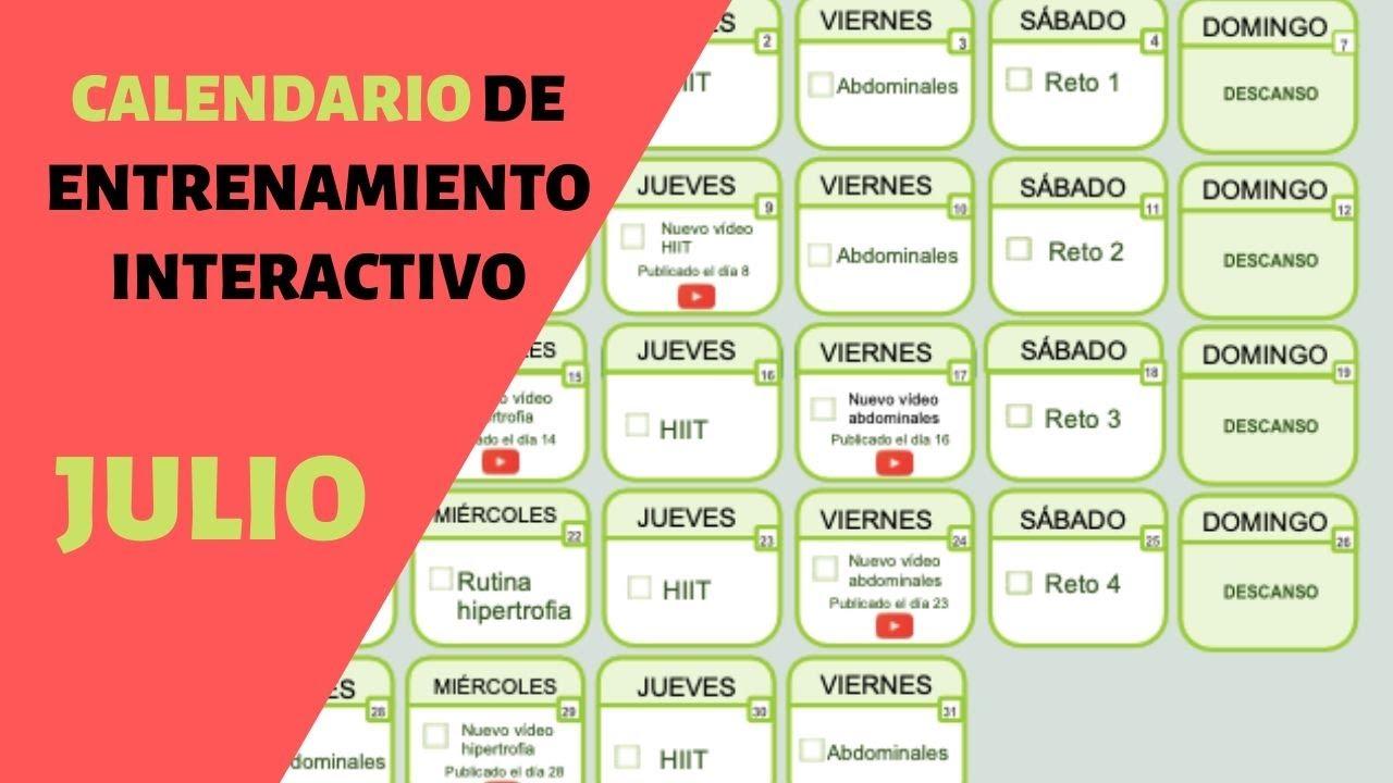 Calendario de entrenamiento interactivo para el mes de julio