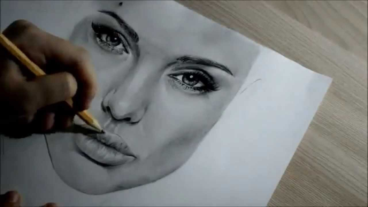Angelina jolie drawing in pencil youtube