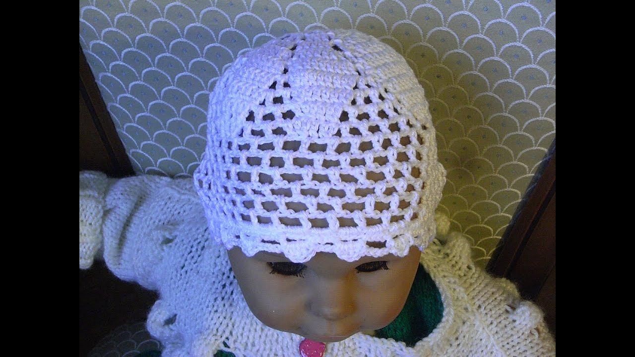 Baby Mütze Häkeln m. Ajourmuster*Filethäkeln Baby hat crochet ...