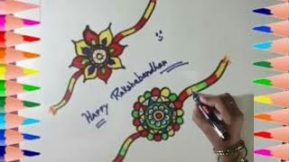 How to draw Fancy rakhi & coloring || Coloring page for kids ||