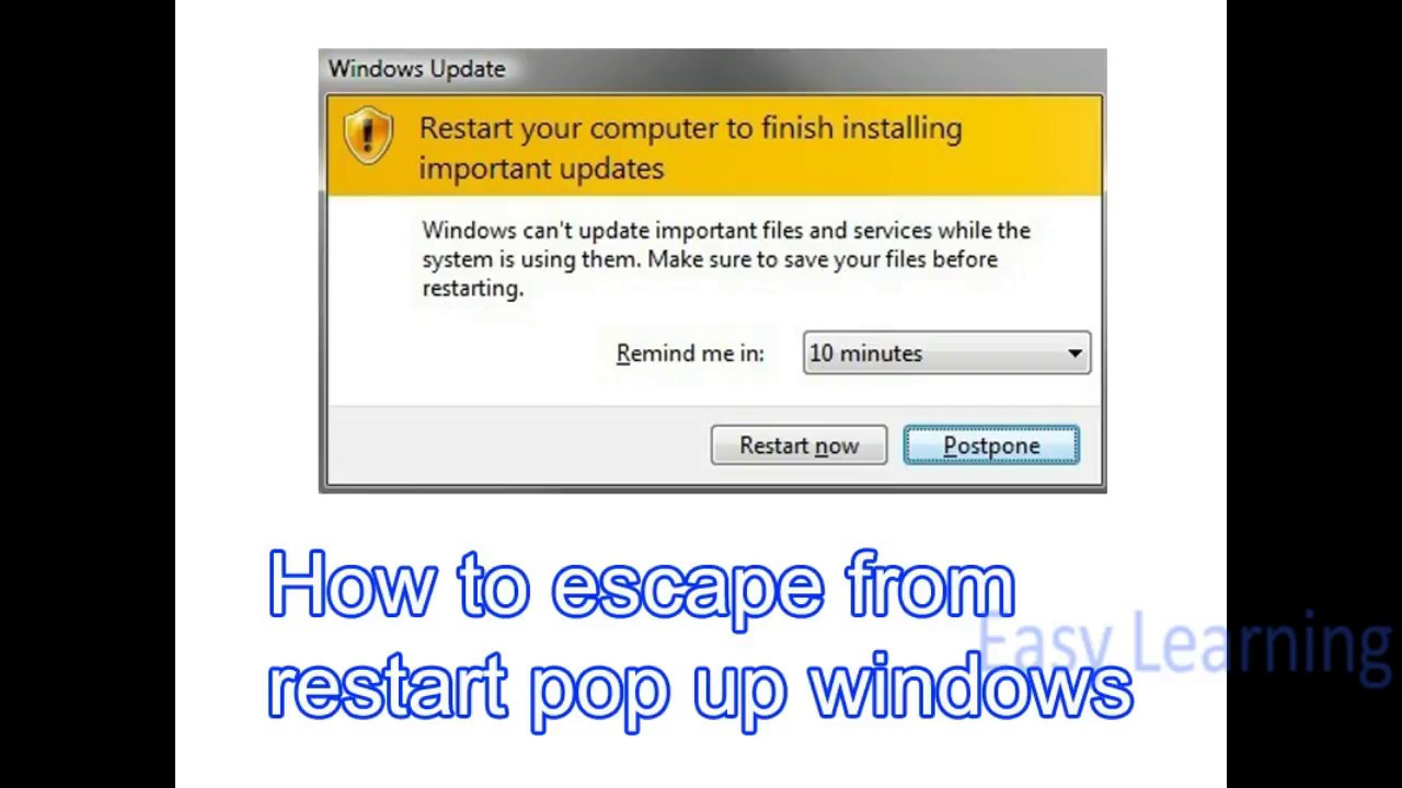 windows 10 disable update restart notification