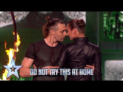 Gomonov Knife Show risk EVERYTHING in live knife-throwing stunt | Semi-Finals | BGT 2019